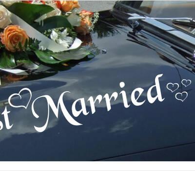 Autoaufkleber - Just Married mit Herzen