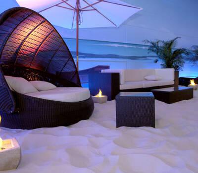 Beispiel: Strandidyll für Ihren Sektempfang, Foto: BeachCenter Hamburg.