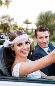 Headband Gatsby, robe Atelier d'Elea, Christelle Guegan wedding planner