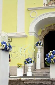 Allestimento Nozze in azzurro e giallo
