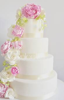 Peonies&Roses Wedding Cake