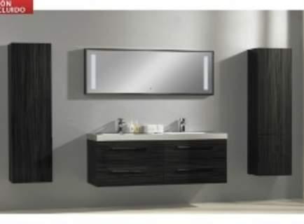 Ensemble salle de bain DOLCEZZA suspendu - MDF - deux lavabos et des miroirs