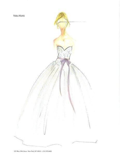 Vestido de novia ilustrado corte princesa con lazo en color rosa pastel