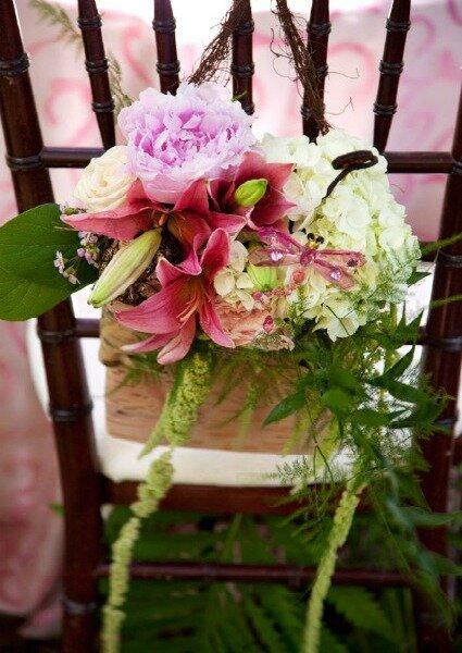 Decoración paras las sillas de la boda.