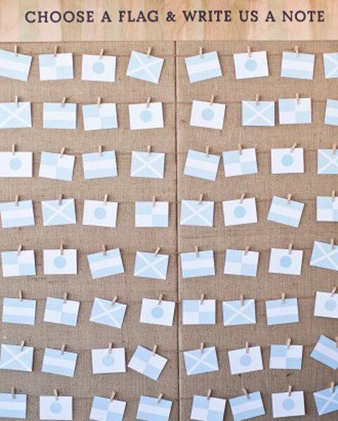 Cartões pendurados.
