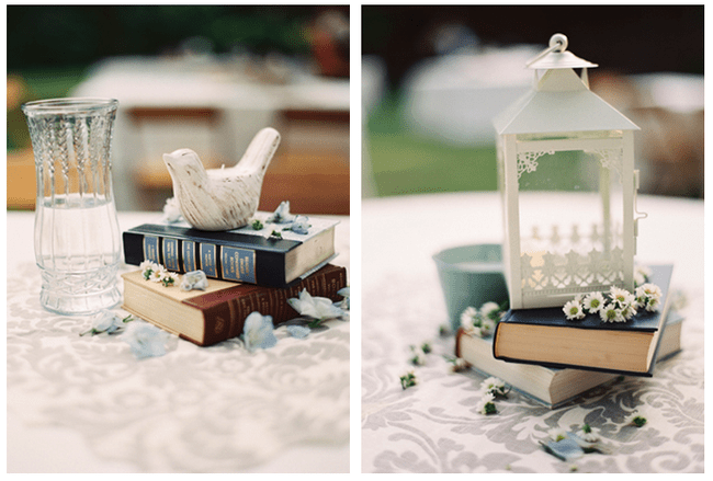 Decoración de boda con libros - Foto Brett Heidebrecht