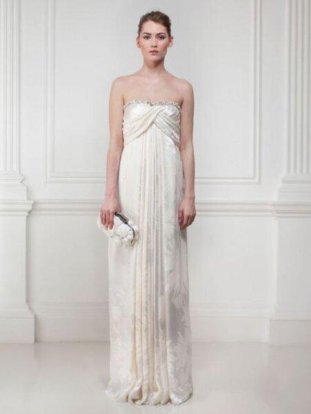 Vestido de novia 2014 con estampados florales y escote strapless con borde metálico - Foto Matthew Williamson