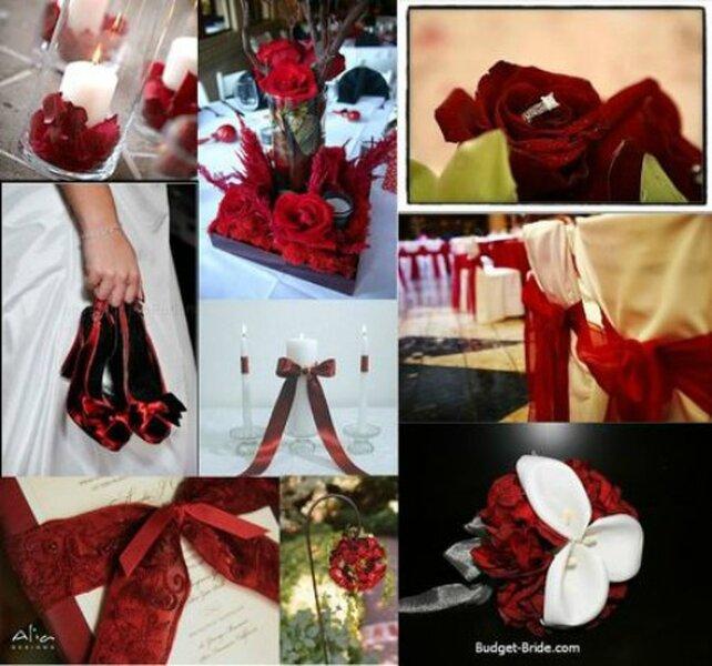 Décorations de mariage rouge et blanc