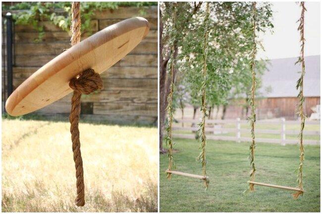 Ideas de columpios simples y sencillos hechos con madera