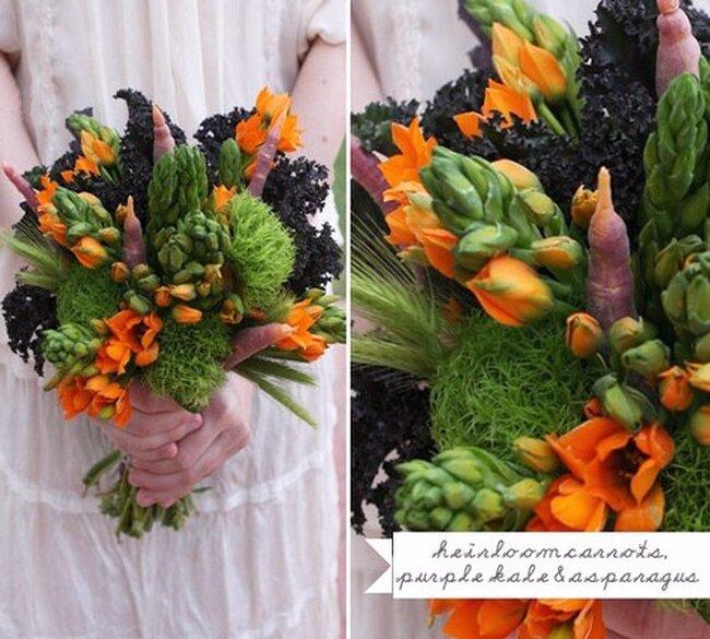 Vegetales para armar ramo de flores.  Foto: Green Wedding Shoes.