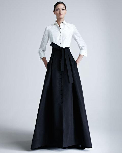 Falda larga de vestido negro