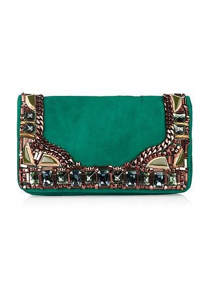 Bolsa verde com adornos de pedraria. Foto: difusión