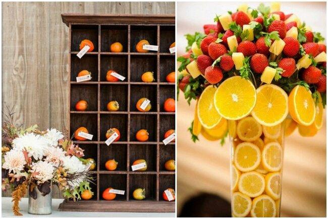 Decoración en tonos naranjas y amarillos: sobre estantes y en jarrón decorativo