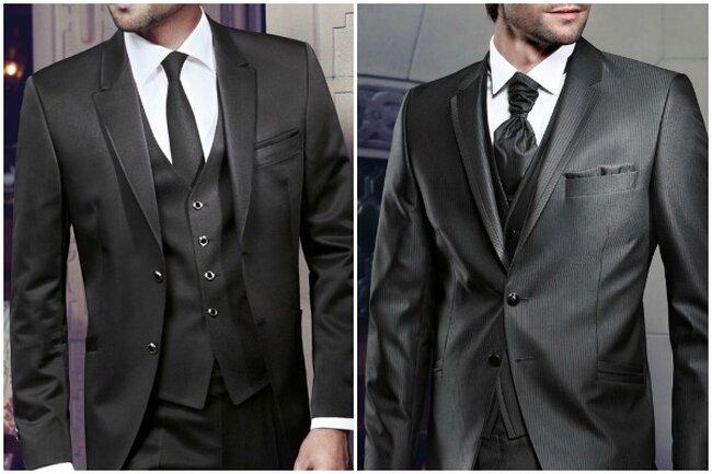 Costume et jaquette noirs avec gilet et combinés à une cravate ou lavallière