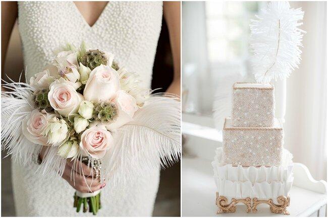 Detalles de plumas en bouquet y tarta de boda.