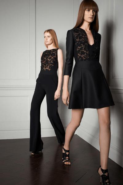 Traje sastre en color negro con detalles de encaje bordados y vestido de fiesta 2014 para boda elegante