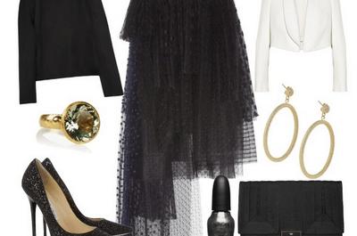 Cómo combinar una falda de tul en color negro para tu look de fiesta