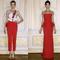 Conjunto de pantalón y blusa con rojo intenso y vestido de fiesta ñargo en rojo intenso con corte peplum