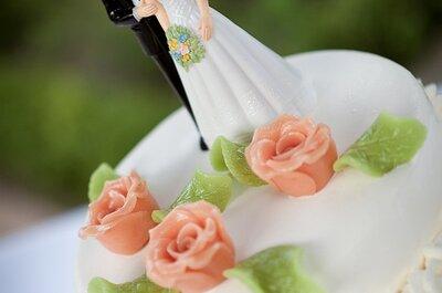 Romantische bruidstaart: bloemetjes & roze marsepein