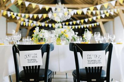 Decoración de boda con tira de banderines para un estilo vintage