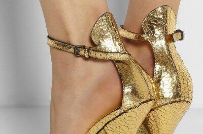 Sapatos de noiva dourados, com brilho, glitter e muito estilo