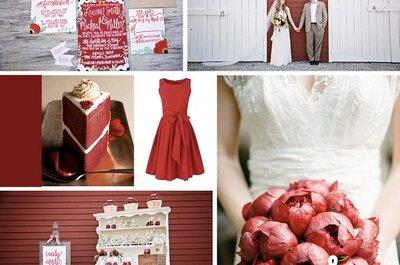 Collage de inspiración para una boda con detalles elegantes color rojo