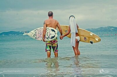 Casamento para surfistas: prancha, sol e mar no seu grande dia