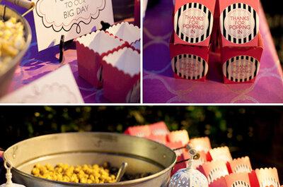Попкорн-бар отличная идея для свадьбы