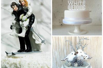 8 niesamowitych figurek idealnych na zimowy tort weselny