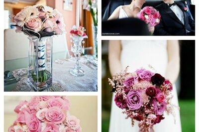 Romantyczne bukiety ślubne w kolorze różowym