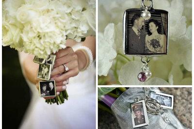 Pomysł tygodnia: medalion ze zdjęciem przy bukiecie ślubnym