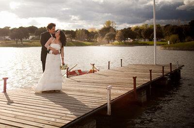 Preciosas fotos de boda en un embarcadero