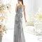 Vestido largo estrapless en color plata para damas de boda