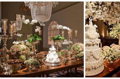 Centros de mesa con orquídeas para decoración floral de boda