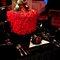 Mesa de una boda decorada en negro y rojo inspirada en Fergie