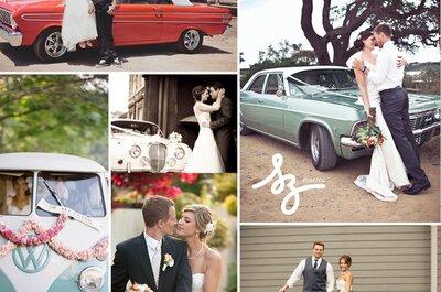Collage de inspiración para elegir el transporte de llegada para tu boda