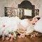 Robe de mariée bustier et jupe volumineuse à volants