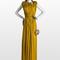 Vestido largo color mostaza con bolso tipo concha. Foto: www.lanvin.com