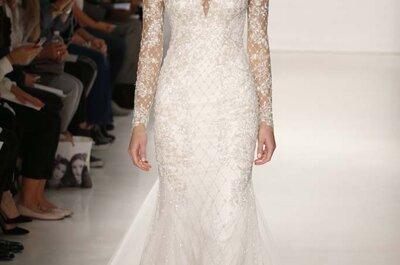 Kenneth Pool otoño 2015: Un encanto dramático con acentos de fulgor, así son sus vestidos de novia 2015