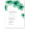 Invitación de boda minimalista con detalles de flores en color verde esmeralda y azul