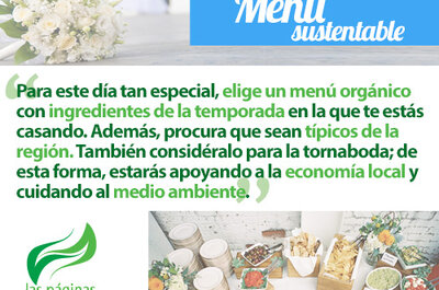 Elige un exquisito menú sustentable para tu boda ecofriendly