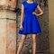 Vestido azul klein con pedrería en cuello