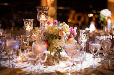 Destellos metalizados en una boda con toques rosados