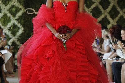 Oscar de la Renta Wedding Dresses Spring 2013: Boldly Scarlet, Softly Blue