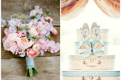 7 wyjątkowych pastelowych bukietów ślubnych i równie pięknych butów