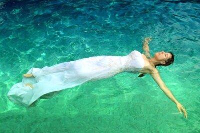 Inspiración para una sesión de fotos Trash the Dress bajo el agua