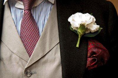 Fleur à la boutonnière pour accessoiriser la tenue du marié : top chic