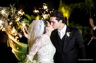 Stephanie & Leonardo: LINDO casamento clássico ao ar livre com FOGOS em São Paulo!