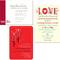 Invitaciones de boda coloridas con detalles en tono rojo intenso e ilustraciones divertidas