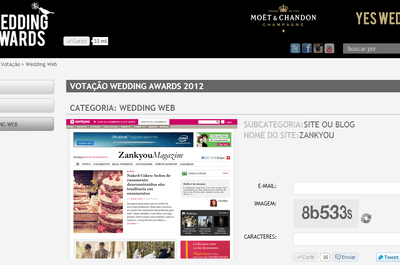 Vote no Zankyou para a melhor Wedding Web no Wedding Awards!